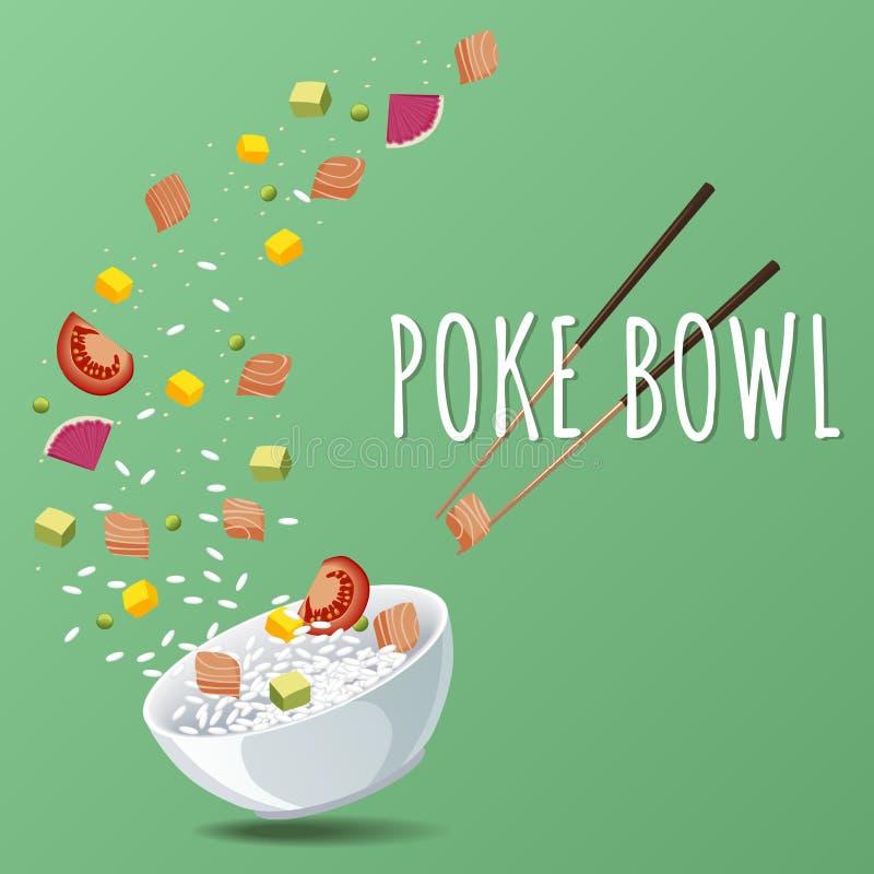 Hawaiibo petar Salmon Bowl med gräsplaner och grönsaker Menydesign, kopieringsutrymmebakgrund royaltyfri illustrationer