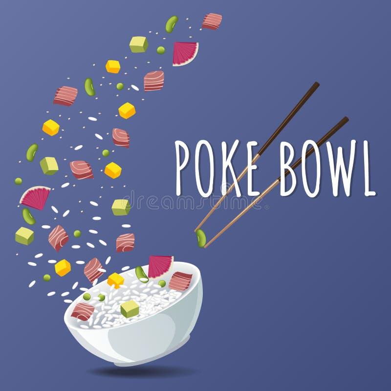 Hawaiibo petar Tuna Bowl med gräsplaner och grönsaker Menydesign, kopieringsutrymmebakgrund vektor illustrationer