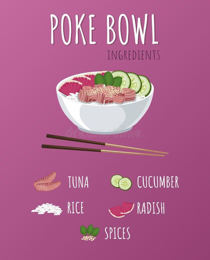 Hawaiibo petar Tuna Bowl med gr?splaner och gr?nsaker Menydesign, kopieringsutrymmebakgrund f?r illustrationsk?ld f?r 10 eps vekt vektor illustrationer