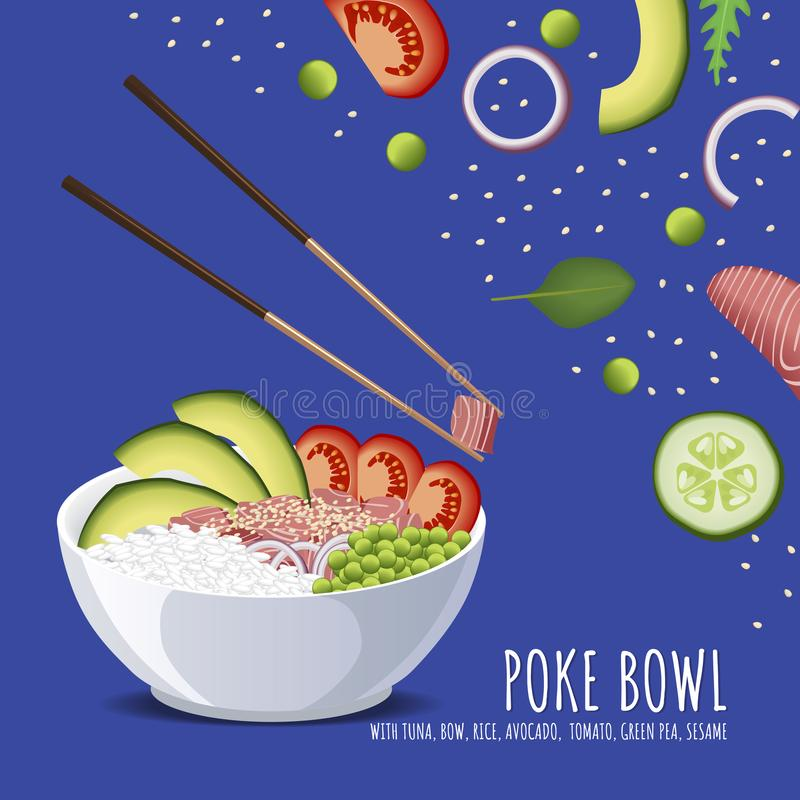 Hawaiibo petar Tuna Bowl, med pilbågen, ris, avokadot, tomaten, den gröna ärtan och sesam vektor illustrationer