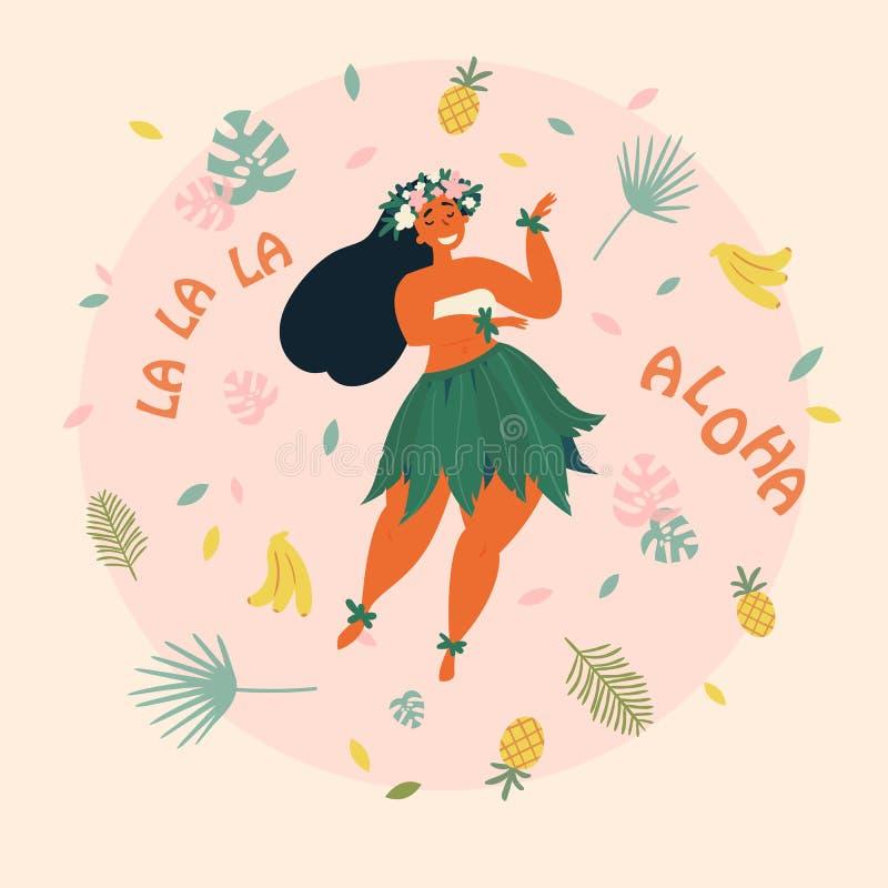 _ Hawaiibo semestrar affischen med den Hula dansaren royaltyfri illustrationer