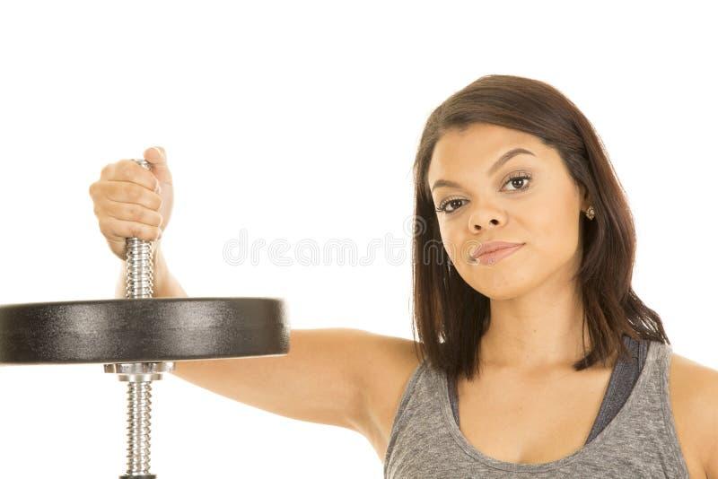 Hawaiin-Frauen-Eignungshand auf Stange mit Gewicht lizenzfreies stockfoto
