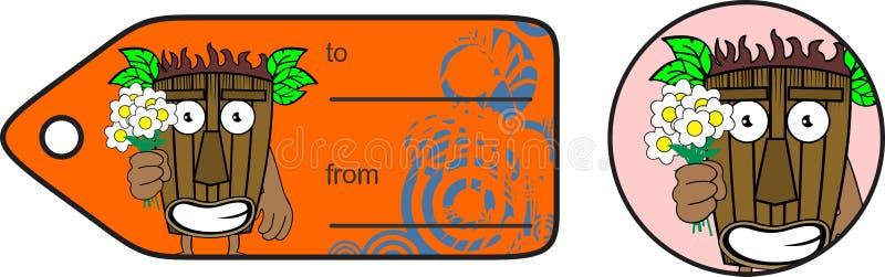 Hawaiische Maske Tiki blüht Karikatur giftcard stock abbildung