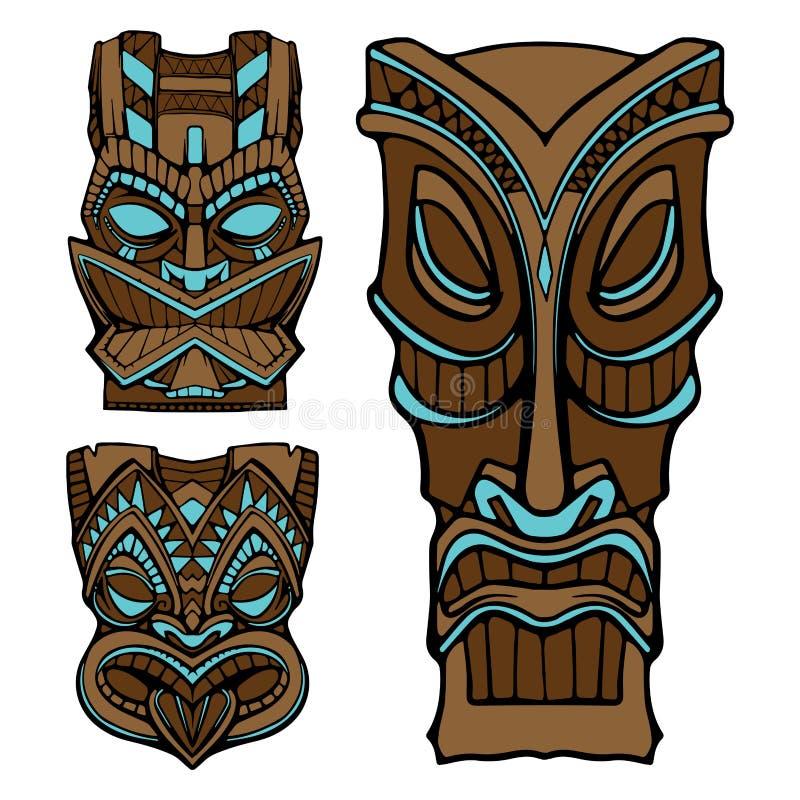 Hawaiische tiki Gottstatue schnitzte hölzerne Vektorillustration lizenzfreie abbildung