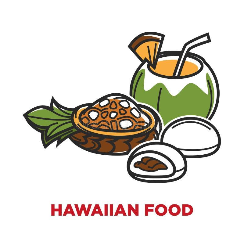 Hawaiisches Lebensmittel mit köstlichen Früchten und tropische Kokosnuss trinken lizenzfreie abbildung