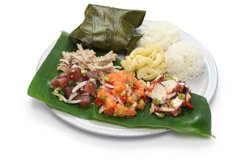 Hawaiisches traditionelles Plattenmittagessen stockbilder
