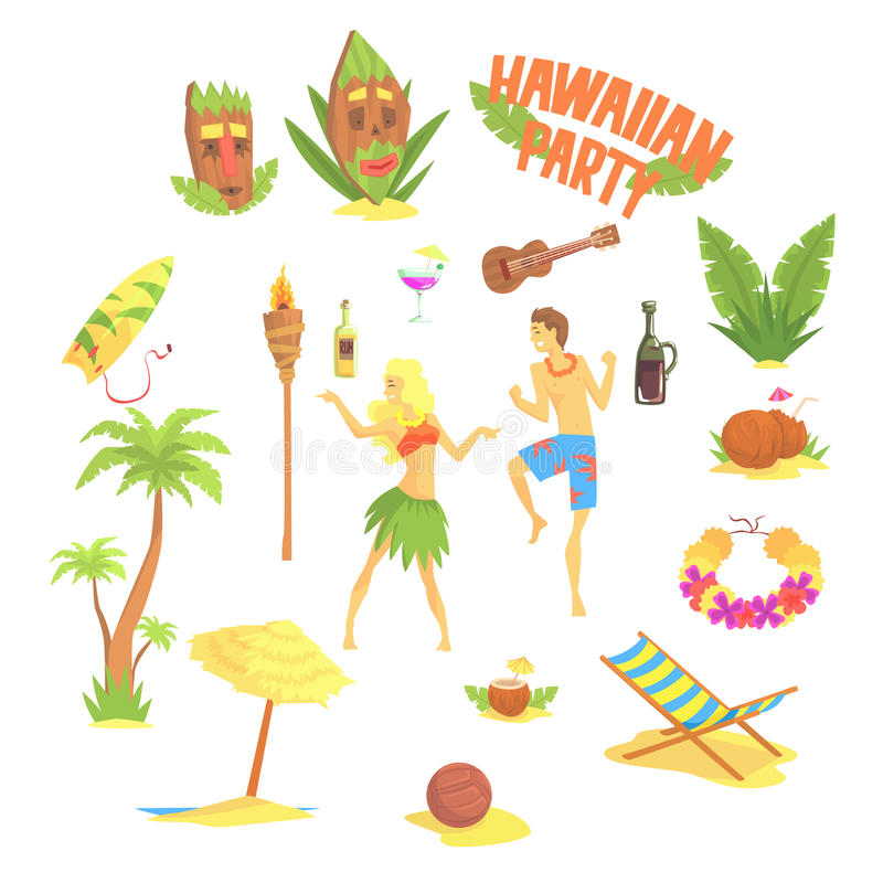 Hawajczyka przyjęcia set, Hawaje symboli/lów wektoru ilustracje royalty ilustracja