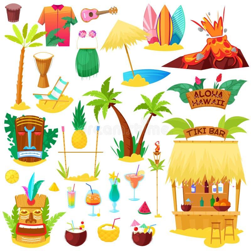 Hawaje hawajczyka wektorowa plaża z tropikalną palmą i fruity koktajlami na wakacje ilustraci sunbed lub egzotycznymi ilustracji