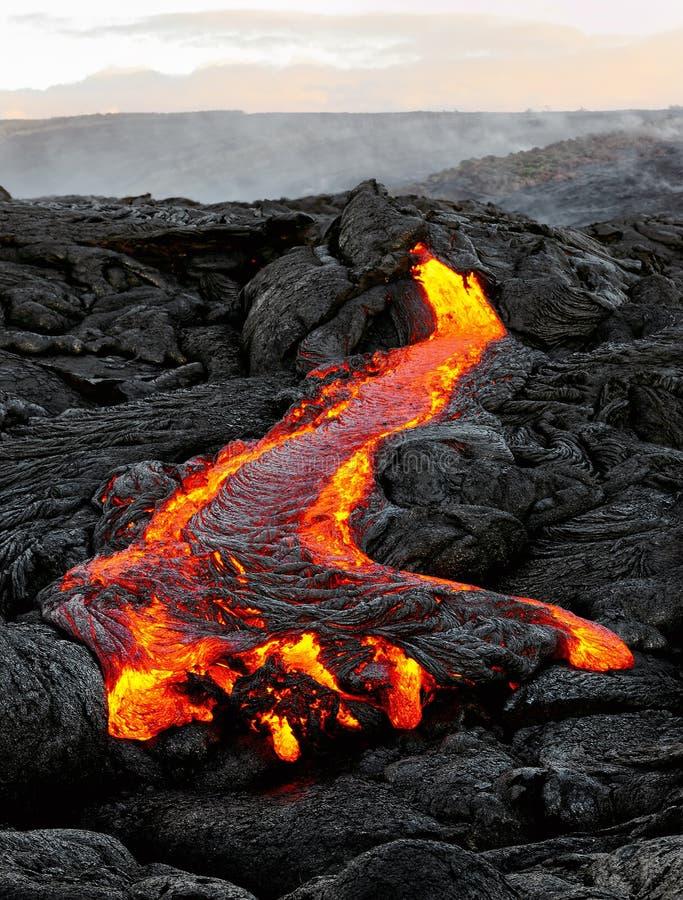 Hawaje Kilauea bieżąca lawa w ranku świetle zdjęcie royalty free