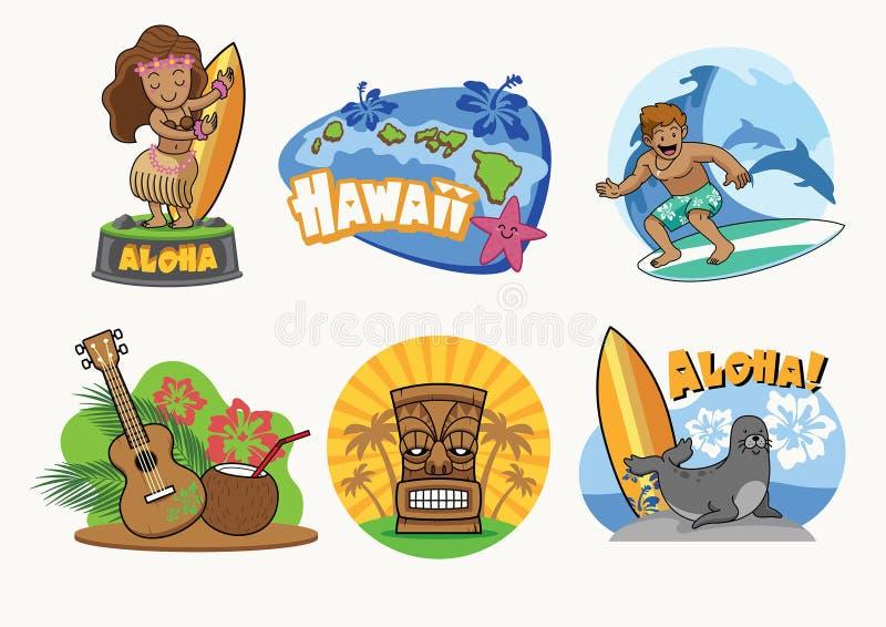 Hawaje kreskówki odznaki projekt w secie ilustracji