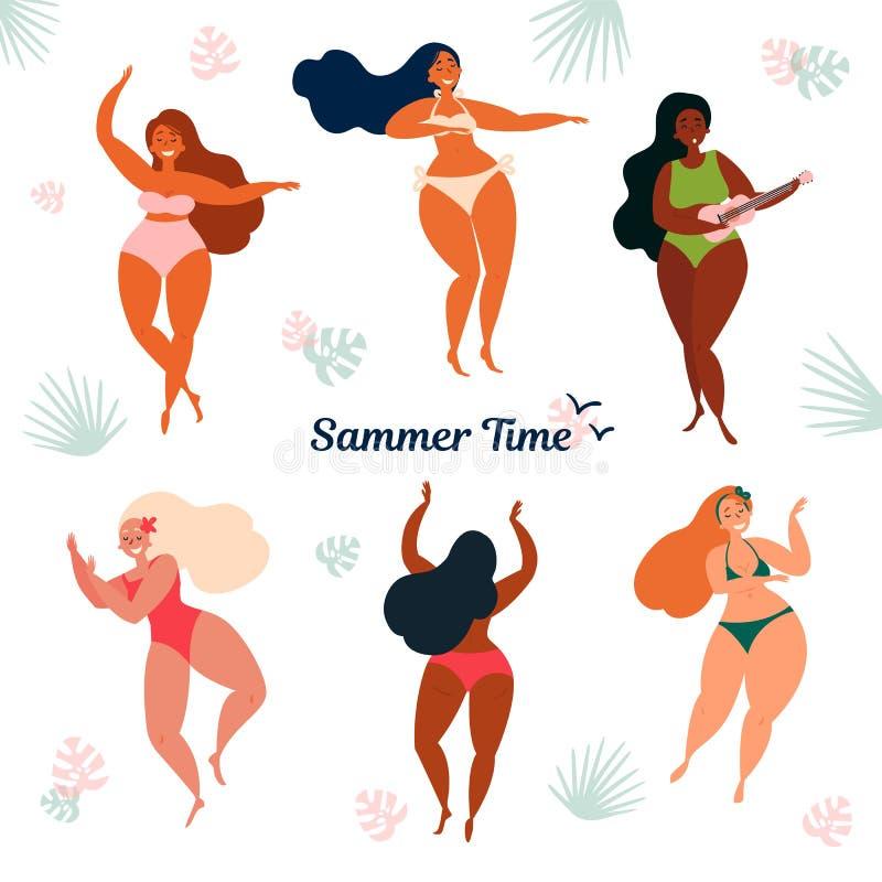 Hawaje lata czasu wakacje bikini dziewczyn ilustraci akwarela ilustracja wektor