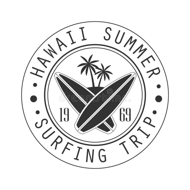 Hawaje lato, surfuje wycieczkę od 1969 loga szablonu, czarny i biały wektorowa ilustracja ilustracja wektor