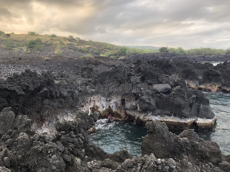 Hawaje linii brzegowej wyspy Duża końcówka świat obraz royalty free