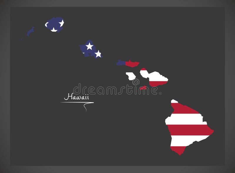 Hawaje mapa z Amerykańską flaga państowowa ilustracją royalty ilustracja