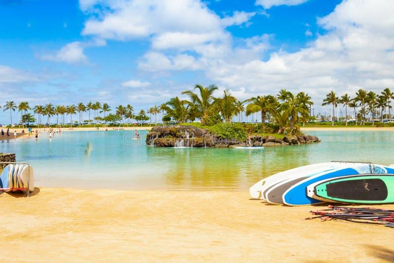 Hawaje Oahu honululu waikiki plaża jeden pożądani turystyczni miejsca przeznaczenia w świacie zdjęcie stock