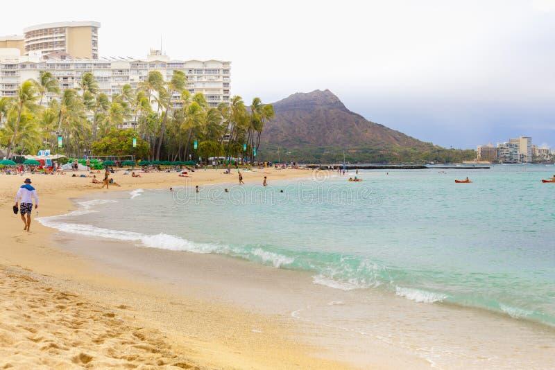 Hawaje Oahu waikiki plaża jeden pożądani turystyczni miejsca przeznaczenia w świacie zdjęcia stock