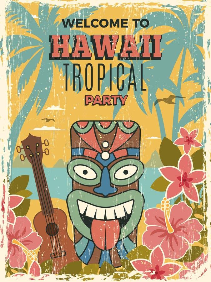 Hawaje plakat Lata zaproszenia prywatkiej tik masek wektoru afrykańskie plemienne ilustracje royalty ilustracja
