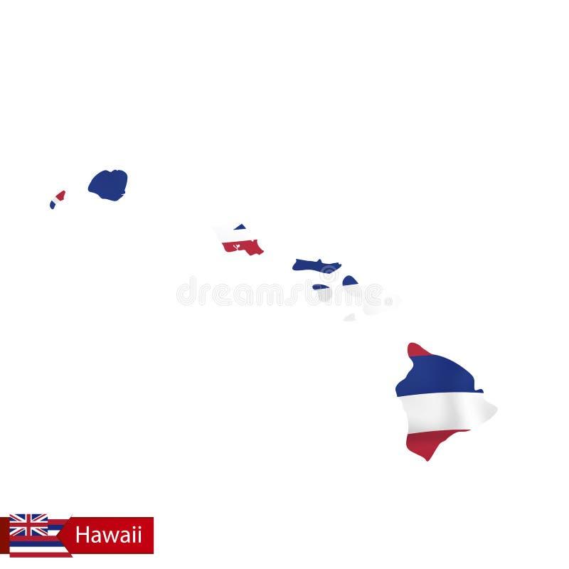 Hawaje stanu mapa z falowanie flaga stan usa royalty ilustracja