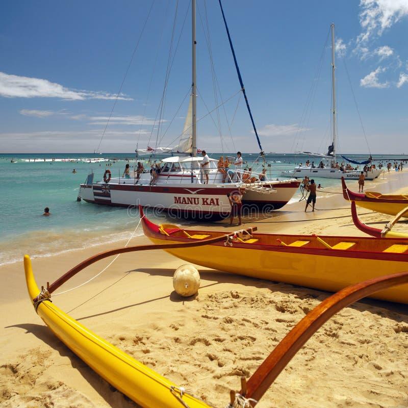Hawaje Waikiki Plaża - obrazy royalty free