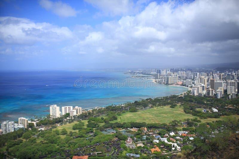 Hawaje widok od diament głowy fotografia stock