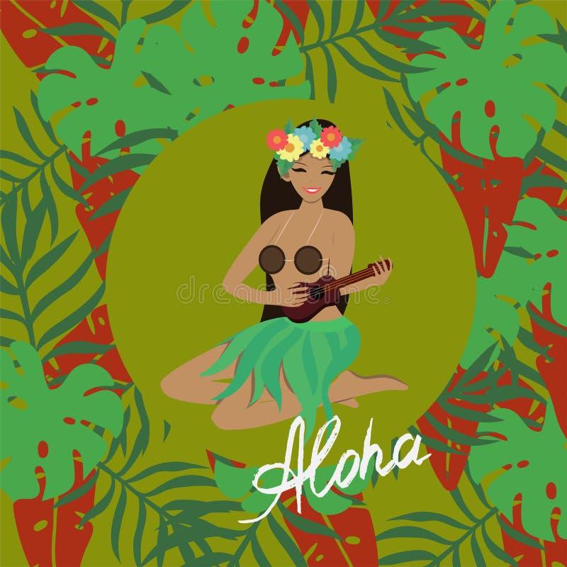 Hawajska dziewczyna bawić się ukulele gitarę i śpiewa Przeciw tłu tropikalni liście niebieski obraz nieba t?czow? chmura wektora ilustracja wektor
