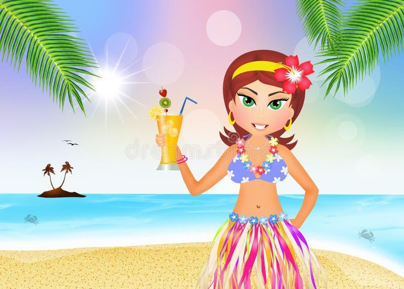 Hawajska dziewczyna z koktajlem ilustracji