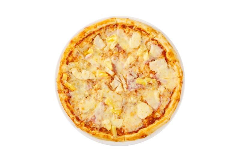 Hawajska pizza z ananasa odosobnionym białym tłem zdjęcie stock