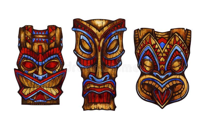 Hawajska statua rzeźbiący tik bóg drewno beak dekoracyjnego latającego ilustracyjnego wizerunek swój papierowa kawałka dymówki ak zdjęcia royalty free