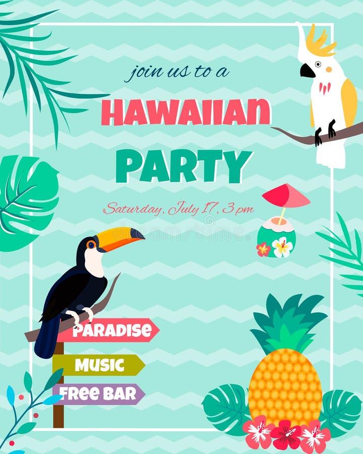 Hawajski jaskrawy zaproszenie z pieprzojadem, kakadu, ananasem, ulistnieniem i tekstem, royalty ilustracja