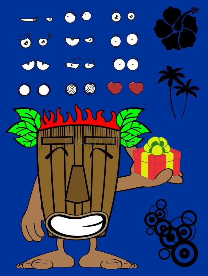 Hawajski tik maski kreskówki wyrażenia prezent royalty ilustracja