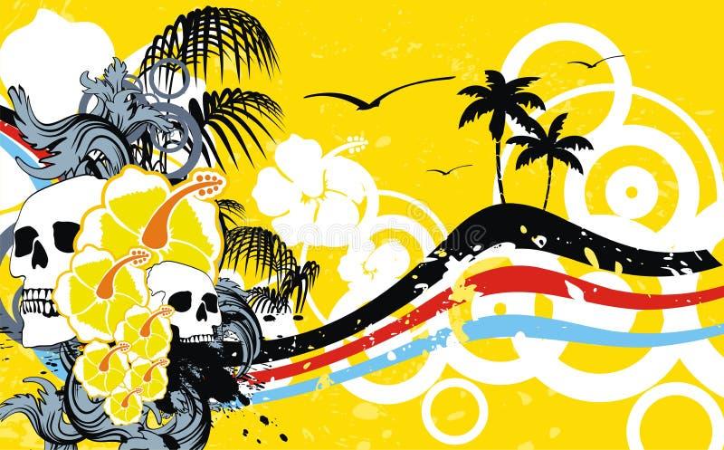 Hawajski tropikalny floriture czaszki ramy tło ilustracja wektor
