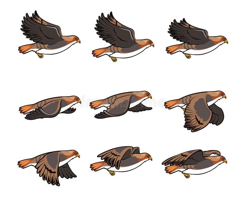 Hawk Flying Sprite stock illustratie