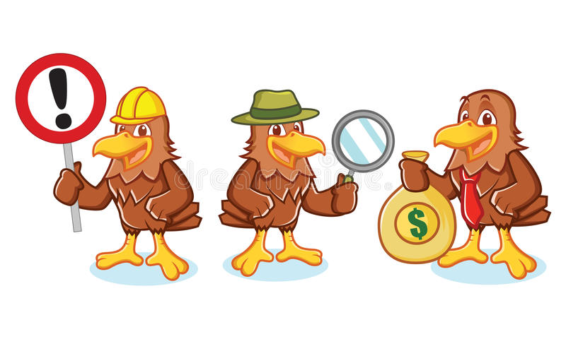 Hawk Mascot Vector with sign royalty free illustration