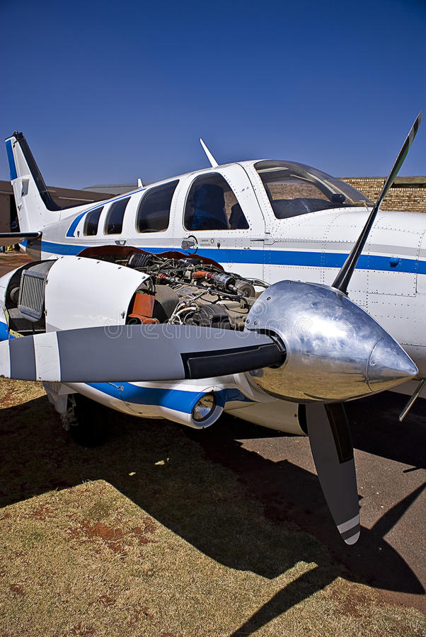 Hawker Beechcraft Baron 58. The Beechcraft Baron is a light, twin-engined piston aircraft originally developed by Beech Aircraft Corporation. Now referred to as stock photo
