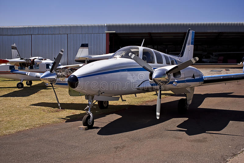Hawker Beechcraft Baron 58. The Beechcraft Baron is a light, twin-engined piston aircraft originally developed by Beech Aircraft Corporation. Now referred to as royalty free stock photography