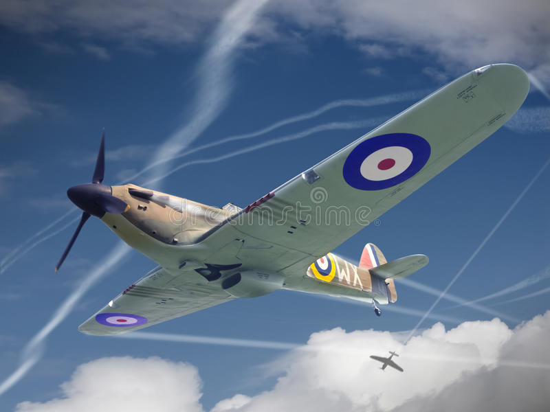 Hawker Hurricane. Flying during Battle of Britain 1940 royalty free stock photography