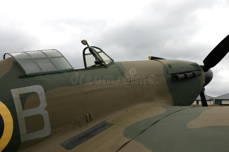 Hawker Hurricane cockpit and engine view. World war 2 fighter aircraft designed by Sir Sidney Camm. The Hawker Hurricane is a British single-seat fighter stock photos