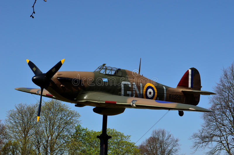 Hawker Hurricane. Windsor, UK: this full size replica of the Hawker Hurricane is a memorial to Windsor resident and aeronautical engineer Sir Sydney Camm royalty free stock photos