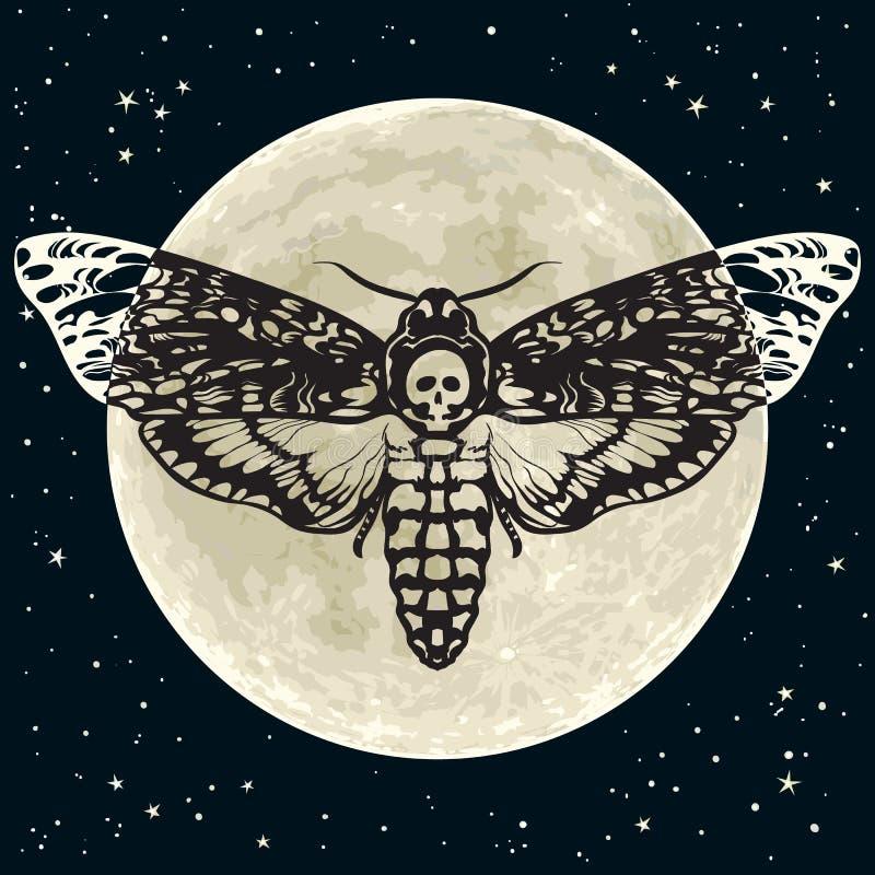 Hawkmoth della testa di morte sui precedenti del cielo notturno e della luna piena Farfalla del lepidottero del cranio Vettore illustrazione di stock