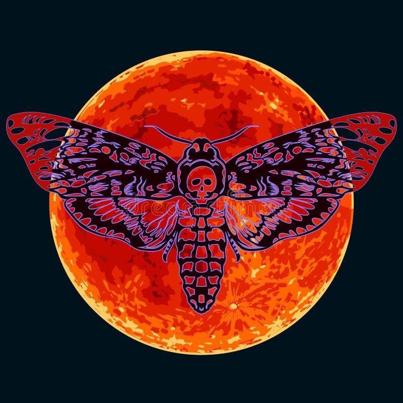 Hawkmoth della testa di morte sui precedenti rossi completi della luna Farfalla del lepidottero del cranio Vettore illustrazione di stock