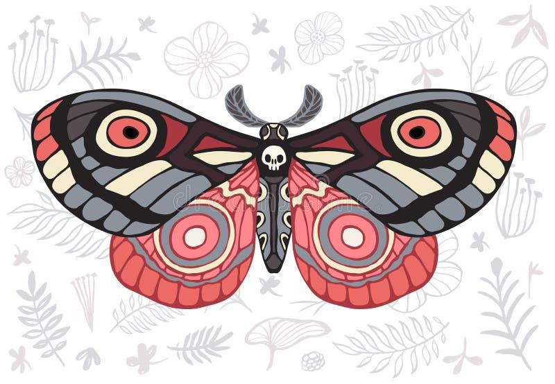 Hawkmoth tropical de las polillas de la noche en el fondo floral, mariposa VE libre illustration
