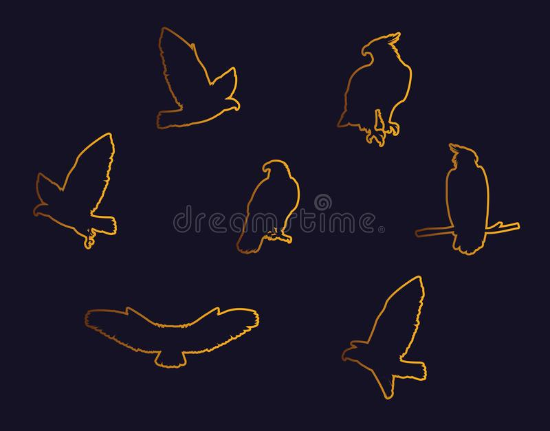 Hawks birds golden silhouettes with different poses royalty free illustration