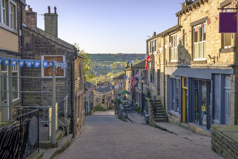 View of Haworth High Street stock images