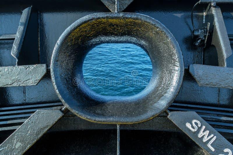 Hawse do metal de um navio de carga imagens de stock royalty free