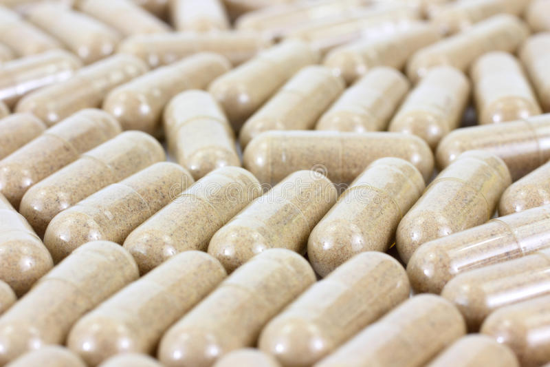 Hawthorn berry vitamin capsules stock images
