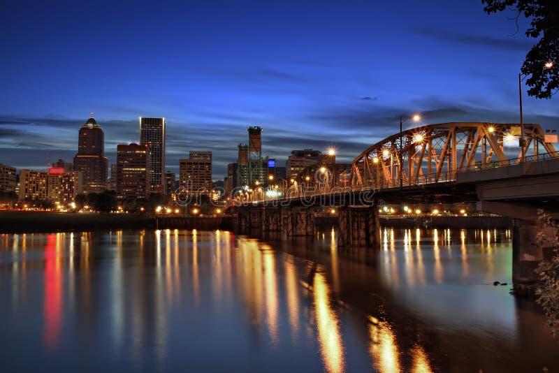 Hawthorne Bridge at Dusk. Hawthorne Bridge and Portland Downtown Skyline at Dusk stock images