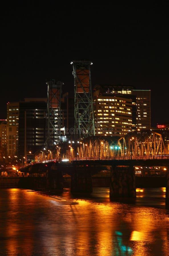 Hawthorne bridge at night. The Hawthorne bridge and traffic at night royalty free stock photos