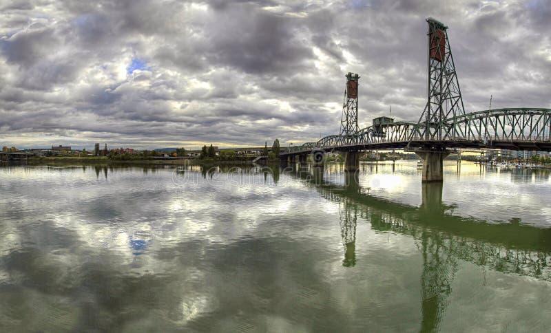 Hawthorne Bridge Over Willamette River stock images
