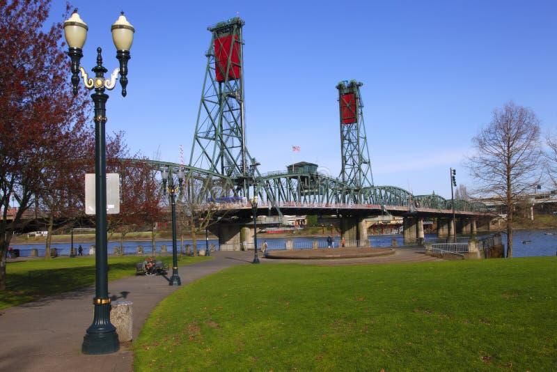 The Hawthorne bridge & park. royalty free stock photo
