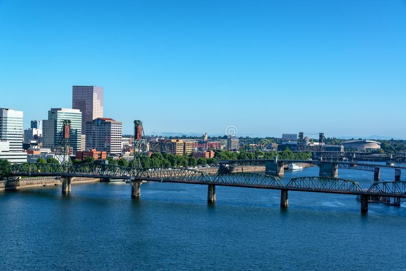 Hawthorne Bridge and Portland Cityscape. View of the Willamette River and Hawthorne Bridge with a beautiful cityscape of Portland, Oregon royalty free stock photos